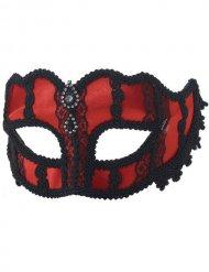 Venezianische Augenmaske mit Spitze rot-schwarz