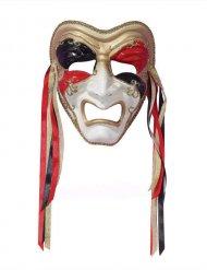Venezianische Maske Harlekin weinend weiss-gold