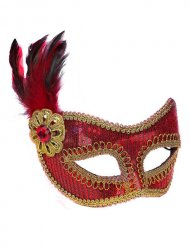 Venezianische Augenmaske Pailletten rot-gold