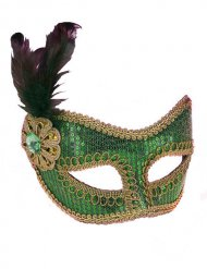Venezianische Augenmaske Pailletten grün-gold