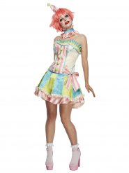 Vintage Clown Damenkostüm bunt