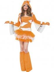 Süsser Clownfisch Damenkostüm orange-weiss