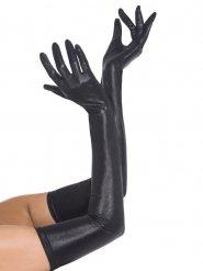 Lack-Lycra Handschuhe lang schwarz