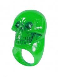 Kreepsville Gothic Ring Totenkopf grün