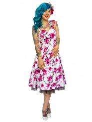 7cf62d37d6d Hearts and Roses Rockabilly 50er Petticoat-Kleid Blumen pink-weiss