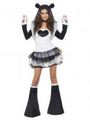 Sexy Panda Damenkostüm weiss-schwarz