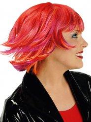Kurze Fransen-Perücke Fee orange-rot-pink