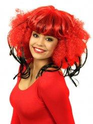 Cosplay Perücke Afro mit Pony rot-schwarz