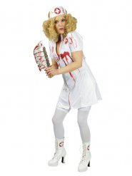 Horror-Krankenschwester Halloween Damenkostüm weiss-rot