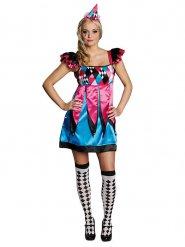 Pierrot Harlekin Damenkostüm Clownfrau pink-blau