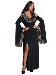 Elegantes Totenkopf Halloween-Kleid schwarz-silber-gold