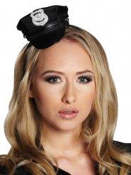 Mini Polizei-Mütze Polizistin schwarz-silber