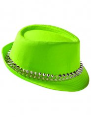 Punk-Fedora-Hut mit Nieten grün