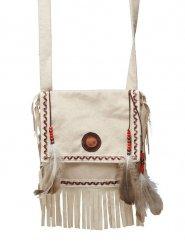 Indianer Handtasche mit Federn Wildwest beige