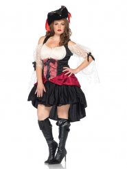 Sexy Barock-Piratin Damenkostüm übergrössen schwarz-rot-weiss