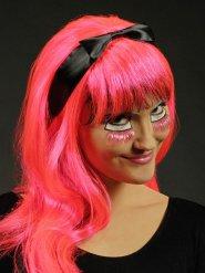 Langhaar UV Perücke mit Schleife pink-schwarz
