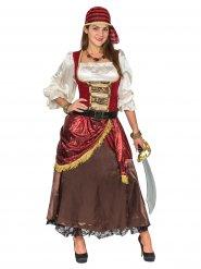 Piratin Damenkostüm Seefahrerin braun-rot-weiss