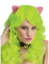 Katze Fantasy-Perücke mit Ohren neongrün