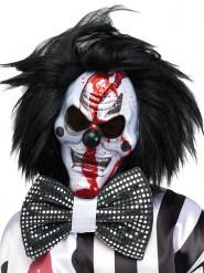 Horror-Clown Halloween-Maske mit Haaren schwarz-weiss