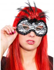 Venezianische Augenmaske mit Spitze und Federn weiss-schwarz