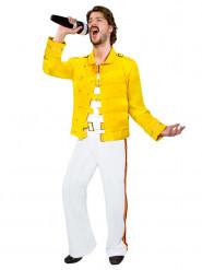 80er Jahre Rockstar Kostüm Jackett weiss-gelb
