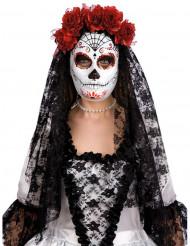 Dia de los Muertos Halloween Maske Spinnennetz mit Schleier weiss-rot-schwarz