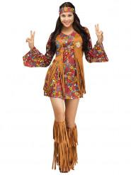 Sexy Hippie Damenkostüm 60er braun-bunt