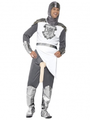 Frivoles Ritter Eisenschlauch Kostüm mit Lanze silber-weiss