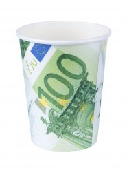 100-Euro-Schein Pappbecher 10 Stück grün-weiss 266ml