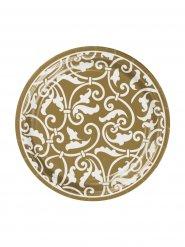 Ornament Pappteller Party-Deko 8 Stück gold-weiss 18cm