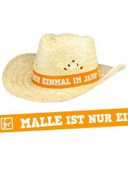 Strohhut Malle ist nur einmal im Jahr beige-orange 32x12cm
