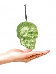 Glitzer Totenkopf Halloween Party-Deko grün 10x8cm