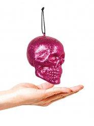 Glitzer Totenkopf Halloween Party-Deko pink 10x8cm