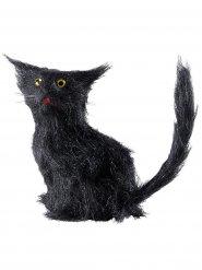 Katze mit Fell Halloween-Deko-Figur schwarz 12cm