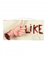 Blutiges Schild 'I like' Halloween Party-Deko bunt 36x18x13cm