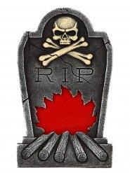 Grabstein Flammen mit Skelett Halloween Party-Deko rot-grau 34x56cm