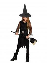 Kleine Hexe Zauberin Halloween Kinderkostüm schwarz-silber