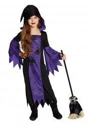 Kleine Spinnen-Hexe Zauberin Halloween Kinderkostüm lila-schwarz