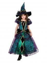 Bezaubernde Hexe Halloween Kinderkostüm schwarz-grün-gold