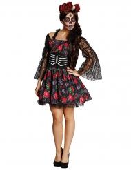 Tag der Toten Skelett Halloween Damenkostüm schwarz-bunt