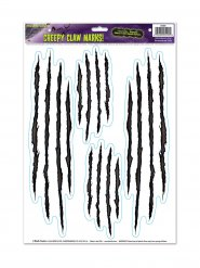 Kratzspuren Halloween Sticker-Set 4 Stück schwarz-weiss 30x43cm
