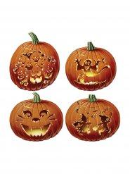 Kürbisse Pappfiguren Halloween Party-Deko-Set 4-teilig orange 36cm