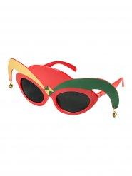 Clown Harlekin Partybrille Funbrille mit Glöckchen rot-gold-grün
