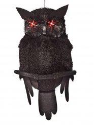 Animierte Eule mit Licht und Sound Halloween Party-Deko schwarz 48cm