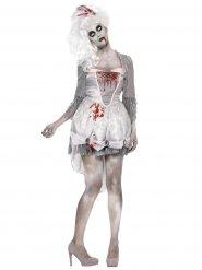Zombie Edeldame Halloween Damenkostüm grau-weiss