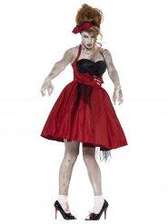 50er Zombie Rockabilly Halloween Damenkostüm schwarz-rot
