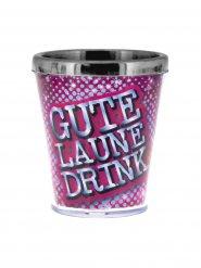 Sprüche Schnapsglas Gute Laune pink-blau-silber 40ml