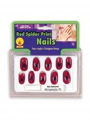 Spinnen Nagel-Set Hexe 10 Stück rot-schwarz