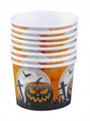 Friedhof Dessert Pappschälchen Halloween Party-Deko  8 Stück orange-schwarz 5,5x8cm