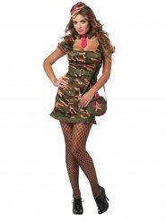 Sexy Soldatin Damenkostüm Militär camouflage grün-pink